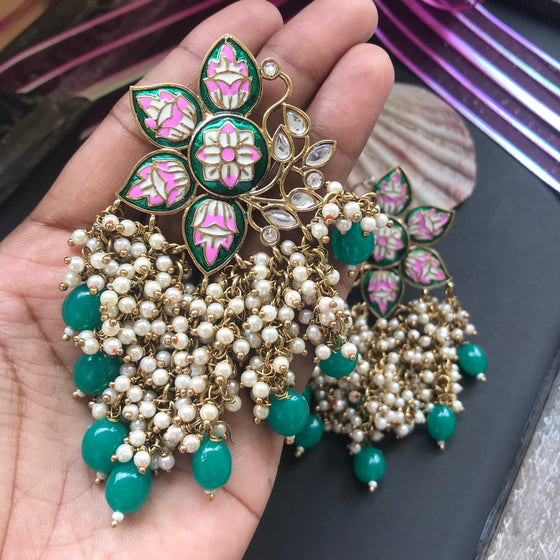 Cluster Pearls Floral Earring(Colours Available) - Kattam Jewellery Instagram Store