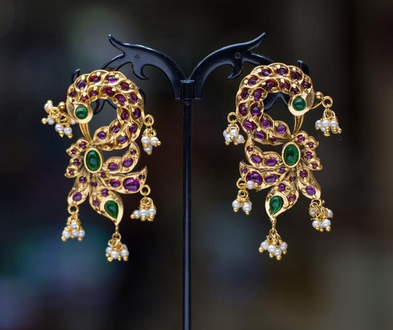 Peacock Kempu Green Earrings Antic Polish 2 Inch - Kattam Jewellery Instagram Store