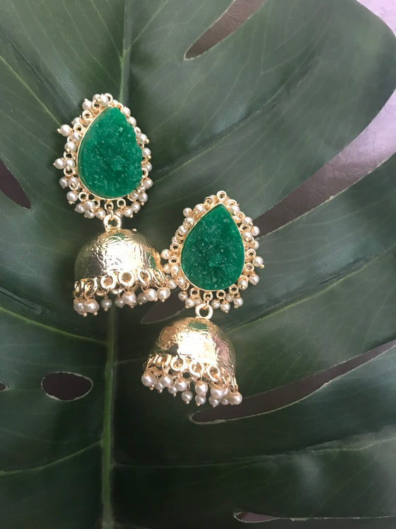 Druzy Stone Golden Jhumka (Colours Available)