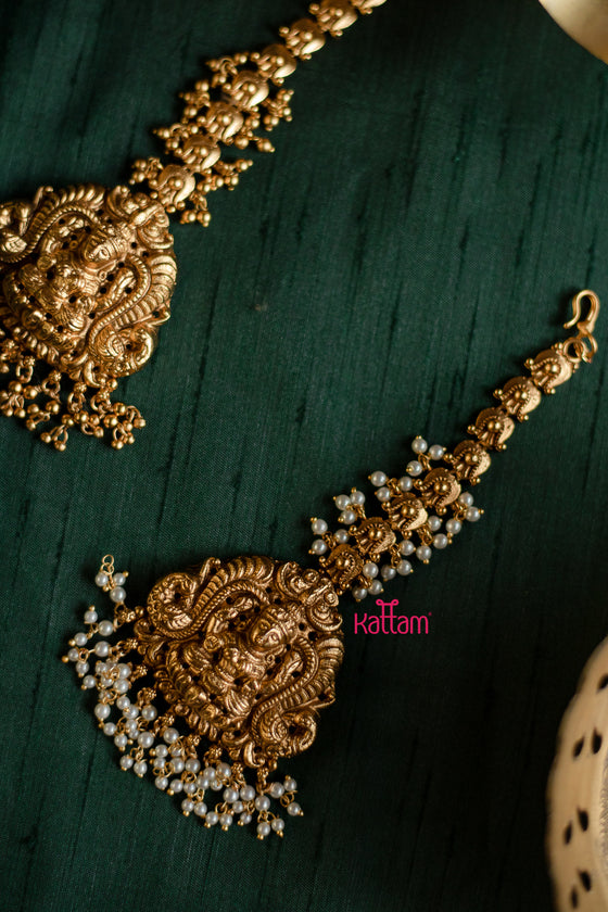 Antique Lakshmi Design Maang Tikka Chutti - Gold Beads and Pearl Drops