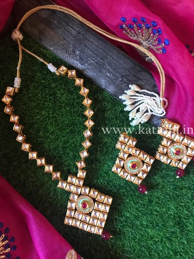 Kundan Necklace Set with Earrings D6 - Kattam Jewellery Instagram Store