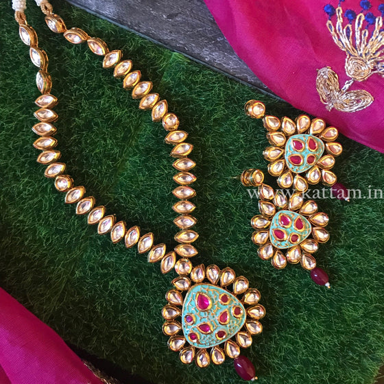 Kundan Necklace Set with Earrings D8 - Kattam Jewellery Instagram Store