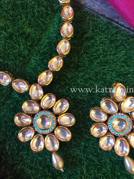 Kundan Necklace Set with Earrings D9 - Kattam Jewellery Instagram Store