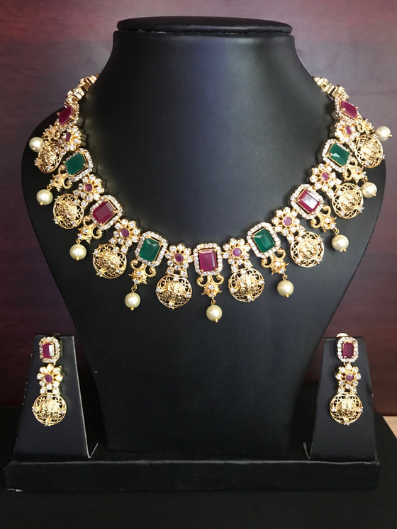 Ruby Emerald Ram Parivar Necklace Set - Kattam Jewellery Instagram Store