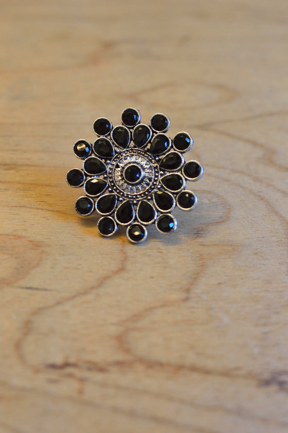 black stone ring for indo western wear