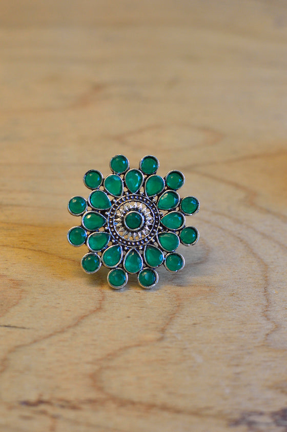 green stone flower ring shop online