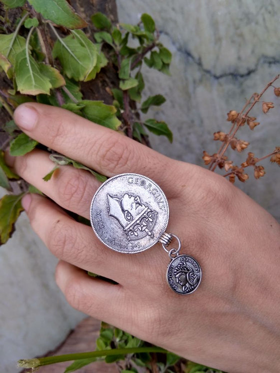 Small Coin Drop Oxidised Silver Ring - Kattam Jewellery Instagram Store
