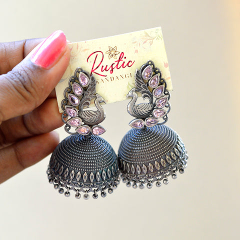 Peacock Stone Real Silver Polish Jhumka(Colours Available)