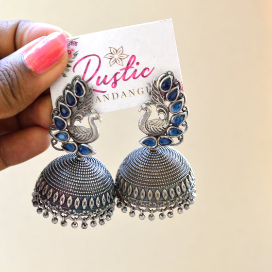 Peacock Stone Real Silver Polish Jhumka(Colours Available) - Kattam Jewellery Instagram Store