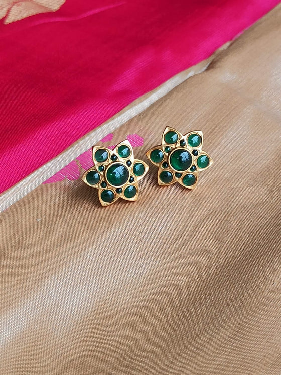 Matt Ruby Green Top Earrings