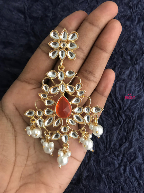 orange stone kundan earring
