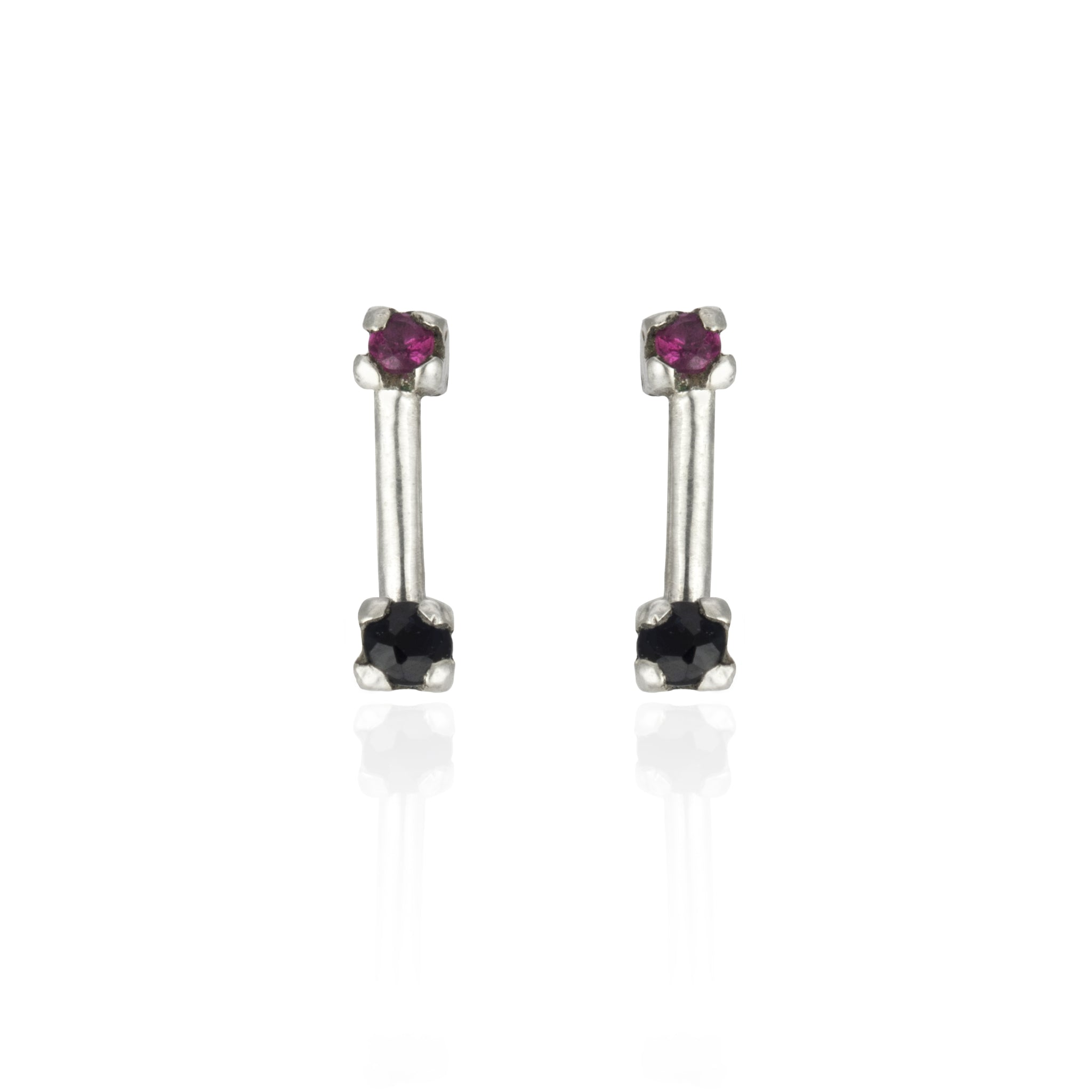 Sapphire and Ruby Double Studs