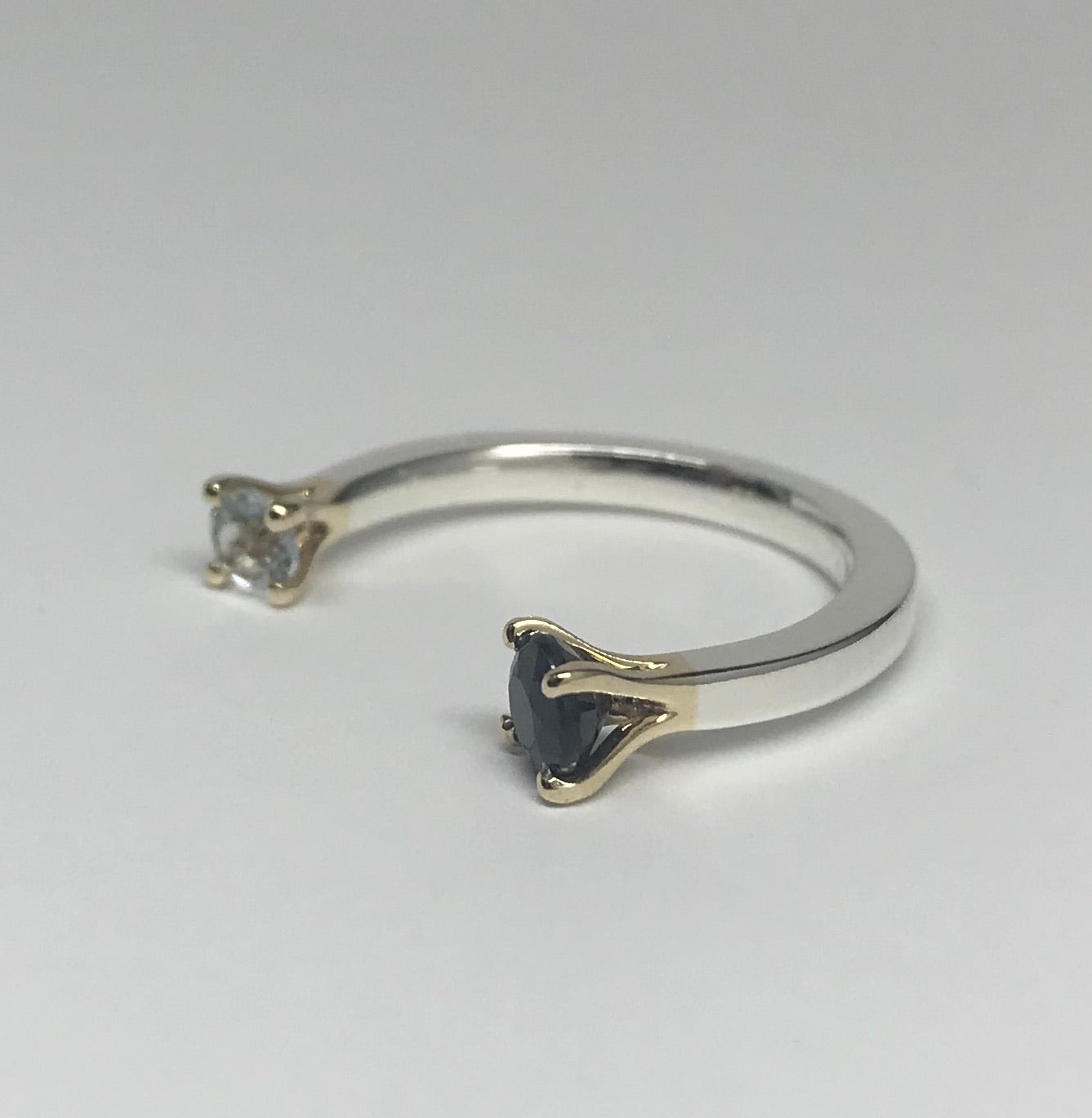 Sapphire and Aquamarine Open Band Ring