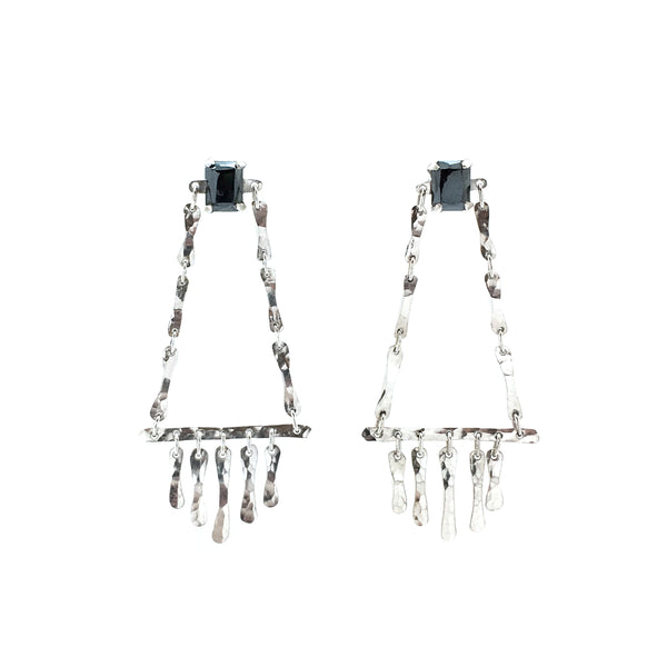 Bone Chain Fringe Studs with Hematite