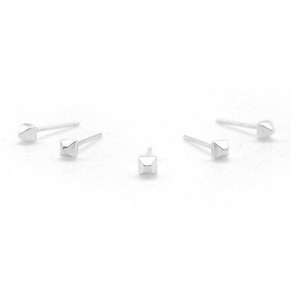 Tiny Faceted Silver Studs