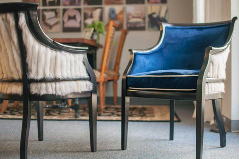 Velvet Blue Foxy Club Chairs