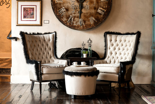 Vogue Diva Chairs and Drum Ottoman