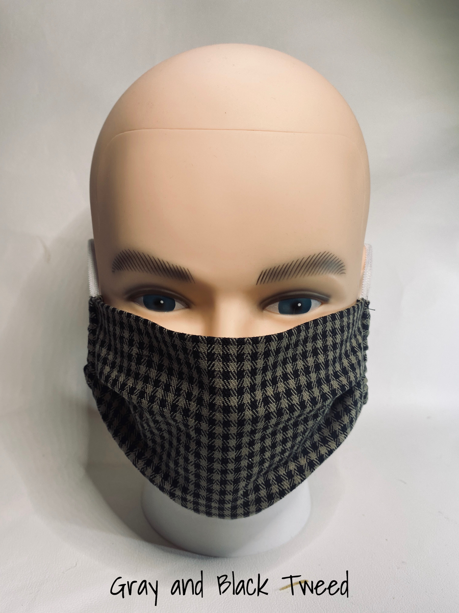classic face cover gray and black tweed