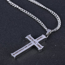 Philippians 4:13 Stainless Steel Cross Necklace - Kensington Discounts