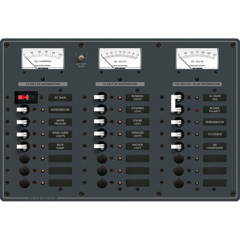 Blue Sea 8084 AC Main +6 Positions/DC Main +15 Positions Toggle Circuit Breaker Panel - White Switches [8084]
