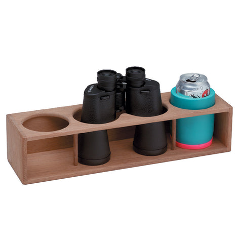 Whitecap Teak Four Insulated Drink/Binocular Rack [62634]