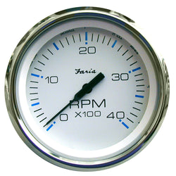 "Faria Chesapeake White SS 4"" Tachometer - 4,000 RPM (Diesel - Mechanical Takeoff & Var Ratio Alt) [33842]"