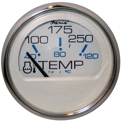 "Faria Chesapeake White SS 2"" Water Temperature Gauge (100-250 DegreeF) [13804]"