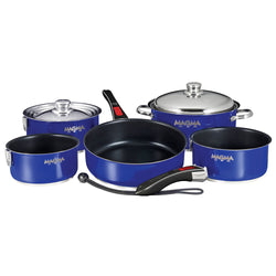 Magma Nesting 10-Piece Induction Compatible Cookware - Cobalt Blue Exterior & Slate Black Ceramica Non-Stick Interior [A10-366-CB-2-IND]