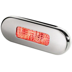 Hella Marine Surface Mount Oblong LED Courtesy Lamp - Red LED - Stainless Steel Bezel [980869501]