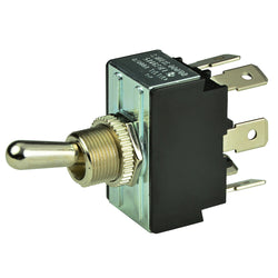 BEP DPDT Chrome Plated Toggle Switch - ON/OFF/(ON) [1002014]