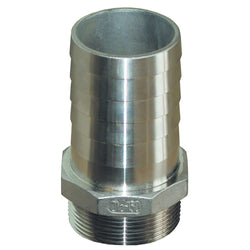 "GROCO 1-1-2"""" NPT x 1-1-2"" ID Stainless Steel Pipe to Hose Straight Fitting [PTH-1500-S]"
