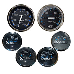 Faria Box Set of 6 Gauges - Speed, Tach, Fuel Level, Voltmeter, Water, Temp  Oil PSI - Chesapeake Black w/Stainless Steel Bezel [KTF064]