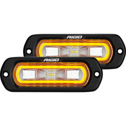 RIGID Industries SR-L Series Flush Mount Spreader Light - Black Housing - Amber Halo [53223]