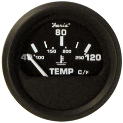 "Faria Euro Black 2"" Water Temperature Gauge - Metric (40 to 120 C) [12814]"