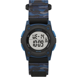 Timex Kids Digital 35mm Watch - Blue Camo w-Fastwrap Strap [TW7C77400XY]