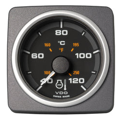 "VDO Marine 2-1/16"" (52mm) AcquaLink Coolant Temp Gauge 120C/250F - 12-24V - Black Dial  Bezel [A2C59501931]"