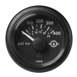 "VDO Marine 2-1-16"" (52mm) ViewLine Transmission Oil Pressure 400 PSI-25 Bar - 8-32V - Black Dial  Round Bezel [A2C59514145]"