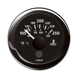 "VDO Marine 2-1-16"" (52mm) ViewLine Temperature Gauge 100-250F - 8-32V - Black Dial  Bezel [A2C59514176]"