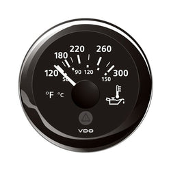 "VDO Marine 2-1-16"" (52mm) ViewLine Temperature Gauge 120-300F - 8-32V - Black Dial  Bezel [A2C59514165]"