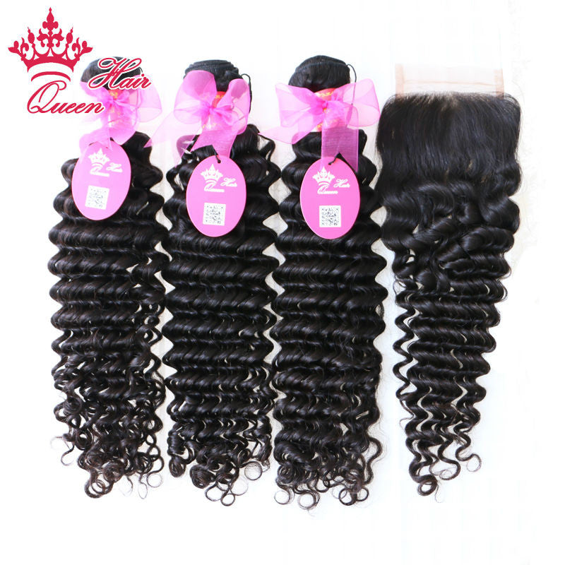 Queen Hair Products Brazilian Virgin Deep Wave Curly 1 Piece Lace