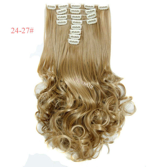 False Hair Extensions Synthetic Hair With Clip 8pcs 18 Clips In Hair