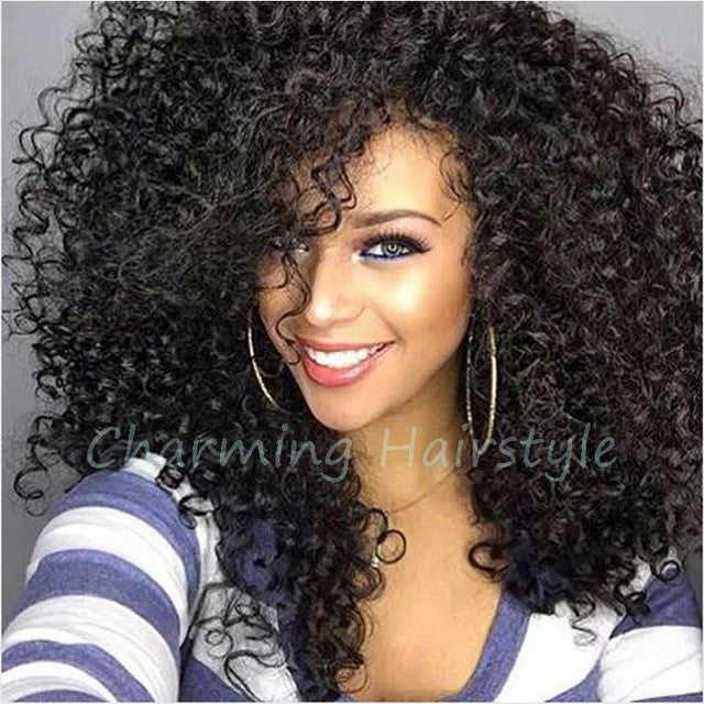 Afro Wigs for Black Women Kinky Curly Synthetic Wigs Long Black Synthetic  Wig African American Natural Cheap Hair 83470b48d7