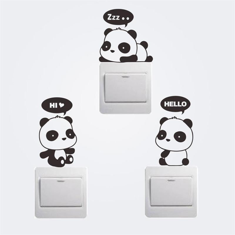 Cute Panda Wall Stickers Animal Decor Switch Decoration By Decorchy