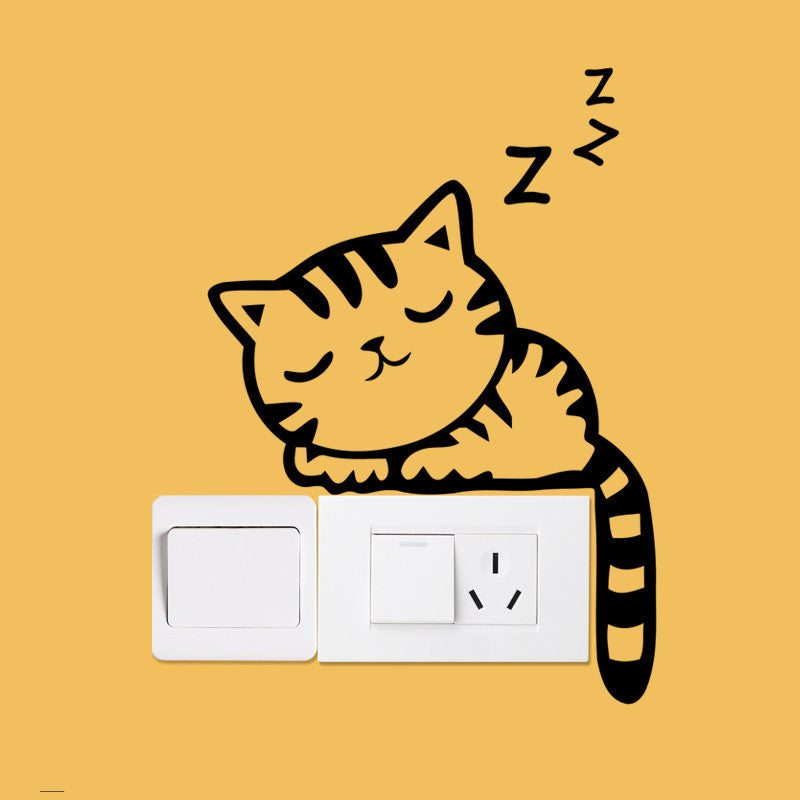 Cute Cat Wall Switch Stickers-Animal Decor-DIY Decoration by Decorchy