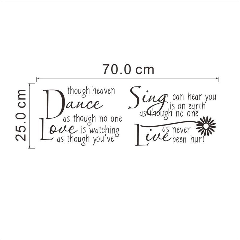 Inspirational Wall Quote StickersDecals Dance Love Sing Live Decorchy