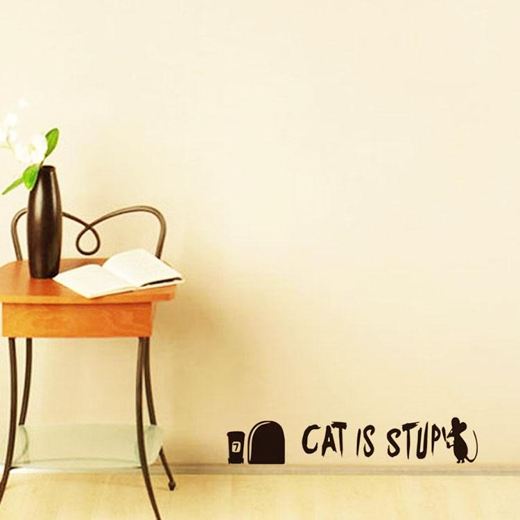 Stupid Cat Decals Mouse Writing Wall Stickers By Decorchy