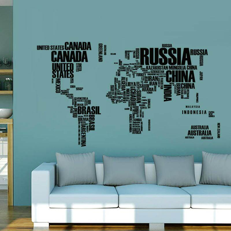 World map wall decal in letters wonderful inside decor by decorchy gumiabroncs Image collections