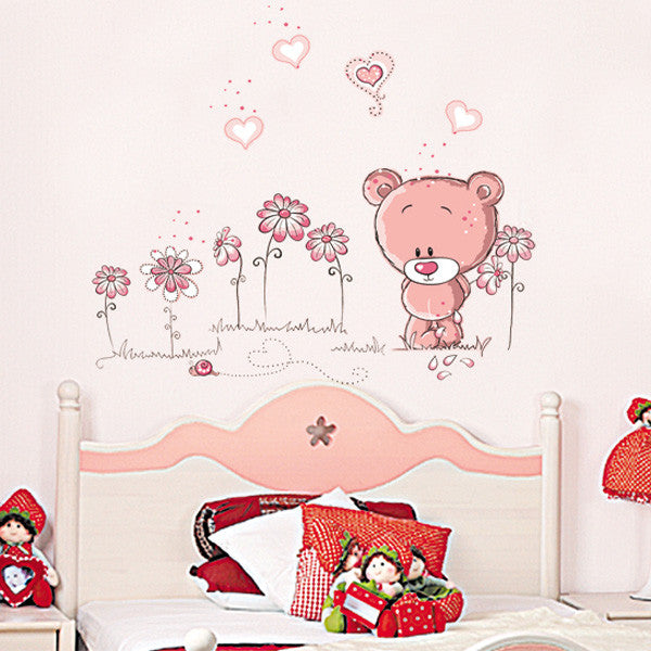 cute bear wall decals-pink animal decor-decal decorationdecorchy