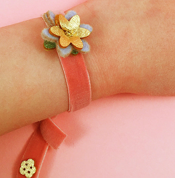 Small Spring Flower bracelet in Periwinkle by Eleanor Moss