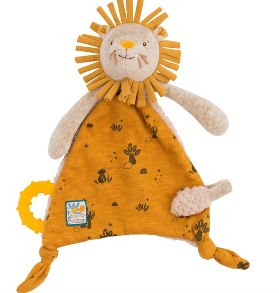Mon Boabab Lion Lovey and Pacifier Holder by Moulin Roty